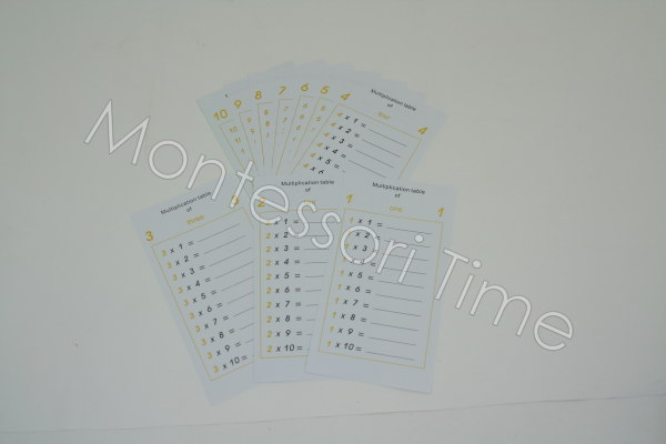 Multiplication Tables (5 Sets of 10 Sheets)
